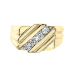 0.60 Carat Round Cut Diamond Channel Setting Mens Ring 14K Yellow Gold