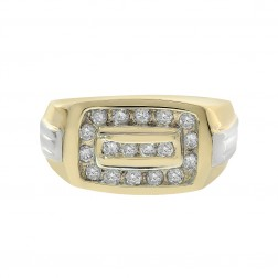 0.50 Carat Round Cut Channel Setting Diamonds Mens Ring 14K Yellow Gold