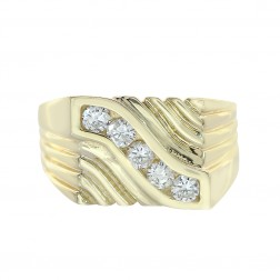 0.65 Carat Round Cut Diamonds Men's Ring 14K Yellow Gold