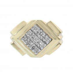 0.40 Carat Round Cut Diamonds Rhombus Men's Ring 14K Yellow Gold