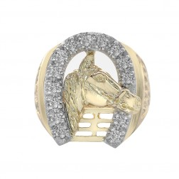 0.40 Carat Round Cut Diamond Men's Horse And Horseshoe Ring 14K Yellow Gold