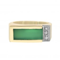 0.06 Carat Round Cut Diamonds Green Onyx Antique Mens Ring 14K Yellow Gold