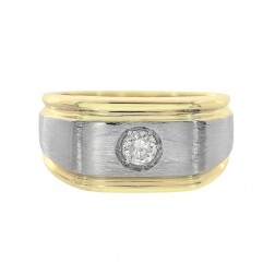 0.25 Carat Round Cut Diamond Men's Ring 14K Yellow Gold