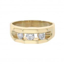 0.50 Carat Round Cut Channel Setting Diamonds Men's Ring 14K Yellow Gold