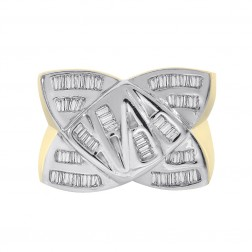 0.50 Carat Baguette Cut Channel Setting Diamonds Mens Ring 14K Two Tone Gold