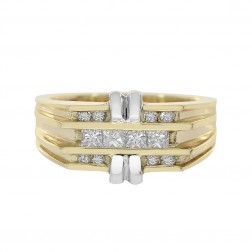 0.55 Carat Princess And Round Cut Diamonds Man's Ring 14K Two Tone Gold