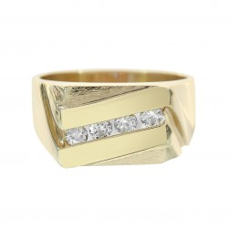 0.50 Carat Round Cut Diamond Channel Setting Mens Ring 14K Yellow Gold