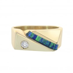 0.15 Carat Diamond And Australian Opal Men's Ring 14K Yellow Gold