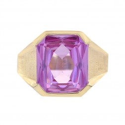 8.00 Carat Octagon Cut Pink Cubic Zirconia Men's Ring 14K Yellow Gold