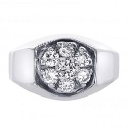 0.65 Carat Diamond Flower Style Men's Ring 14K White Gold
