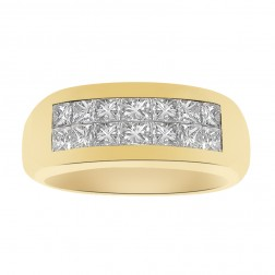 1.20 Carat Invisible Set Princess Cut Diamond Wedding Band 18K Yellow Gold
