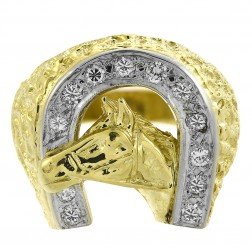 0.50 Carat Round Cut Diamond Men's Horse And Horseshoe Ring 18K Yellow Gold