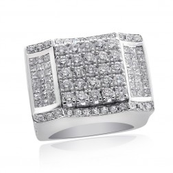 6.57 Carat Mens Round Princess Cut Diamond Ring 14K White Gold