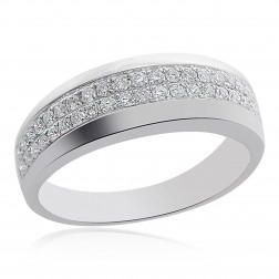 0.50 Carat Mens Round Brilliant Cut Diamond Wedding Band 14K White Gold