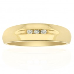 0.05 Carat Diamond Men's Wedding Band 14K Yellow Gold Ring