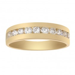 1.25 Carat Channel Set Mans Diamond Wedding Band 14K Yellow Gold