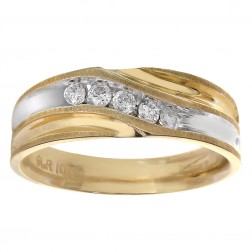 0.25 Carat Diamond Men's Wedding Band 10K Two Tone Gold Ring