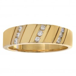 0.27 Carat Diamond Men's Wedding Band 14K Yellow Gold Ring