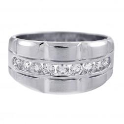 0.75 Carat Diamond Men's Wedding Band 14K White Gold