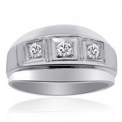 0.50 Carat Mens Round Cut Diamond Wedding Band 14K White Gold