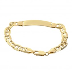 14K Yellow Gold Gucci Link Chain ID Bar Bracelet Made In Italy