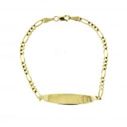 "10K Yellow Gold Medical Id Figaro Link Bracelet 7"" long"