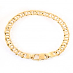 6.4mm 14K Yellow Gold Square Mariner Link Bracelet Italy