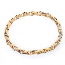 6.5mm 14K Yellow Gold Fancy Link Chain Bracelet