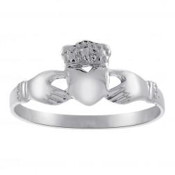 14K White Gold Irish Claddagh Ring Size 7.5