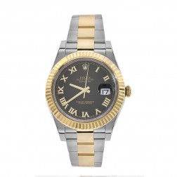 Rolex Datejust II Steel & 18K Yellow Gold Watch Black Roman Dial 116333