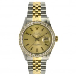Rolex Datejust 36 Steel & 18K Yellow Gold Watch 1.50 ct. Diamond Bezel Champagne Dial 16013