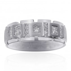 0.85 Carat Diamond Mens Wedding Band 14k White Gold