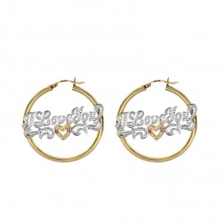 14K Yellow Gold 'I Love You' Nameplate Hoop Earrings