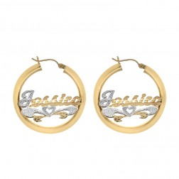 14K Yellow Gold 'Jessica' Nameplate Hoop Earrings