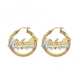 14K Yellow Gold 'Michelle' Nameplate Hoop Earrings