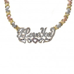 Diamond, Ruby & Sapphire 'I Love You' Nameplate XOXO Necklace 14K Tri-Tone Gold
