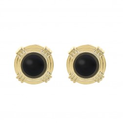 Round Shape Onyx Earrings 14K Yellow Gold
