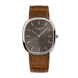Patek Philippe Golden Ellipse 18K White Gold Watch Brown Dial 3738/100G