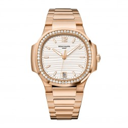 Patek Philippe Ladies Nautilus 18K Rose Gold Watch Diamond Bezel 7118/1200R