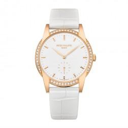 Patek Philippe Ladies Calatrava 18K Rose Gold Watch Diamond Bezel 7122/200R