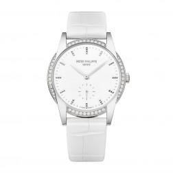 Patek Philippe Ladies Calatrava 18K White Gold Watch Diamond Bezel 7122/200G