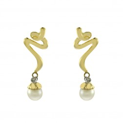 5.2mm Freshwater Pearl Earrings with 0.01 Carat Diamonds in 14K Yellow Gold
