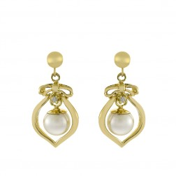 6.4 mm Freshwater Pearl with 0.02 Carat Diamonds Earrings in 14K Yellow Gold