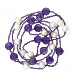 10mm Pearl & 12mm Natural Briolette Shape Amethyst Bead Necklace
