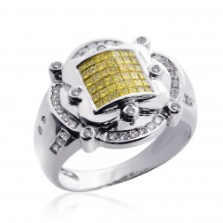 1.00 Carat Mens Princess Cut Yellow Fancy Diamond Ring 14K White Gold