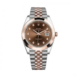 Rolex Datejust 41 Steel & 18K Everose Gold Watch Jubilee Bracelet Chocolate Diamond Dial 126301