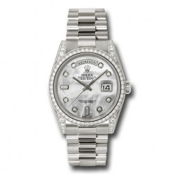 Rolex Day-Date 36 18K White Gold MOP Diamond Dial Factory Diamond Lugs 118389