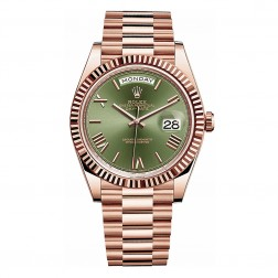Rolex Day-Date 40 18K Everose Gold Watch Green Roman Dial 228235