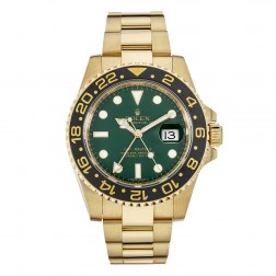Rolex GMT-Master II 18K Yellow Gold Watch Green Dial 116718
