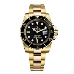 Rolex Submariner Date 18K Yellow Gold Watch Black Ceramic Bezel 116618LN